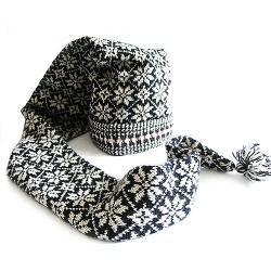Kihnu mustriga müts+sall