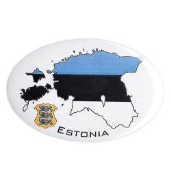 Sini must valge Eesti maakaardiga magnet avaja